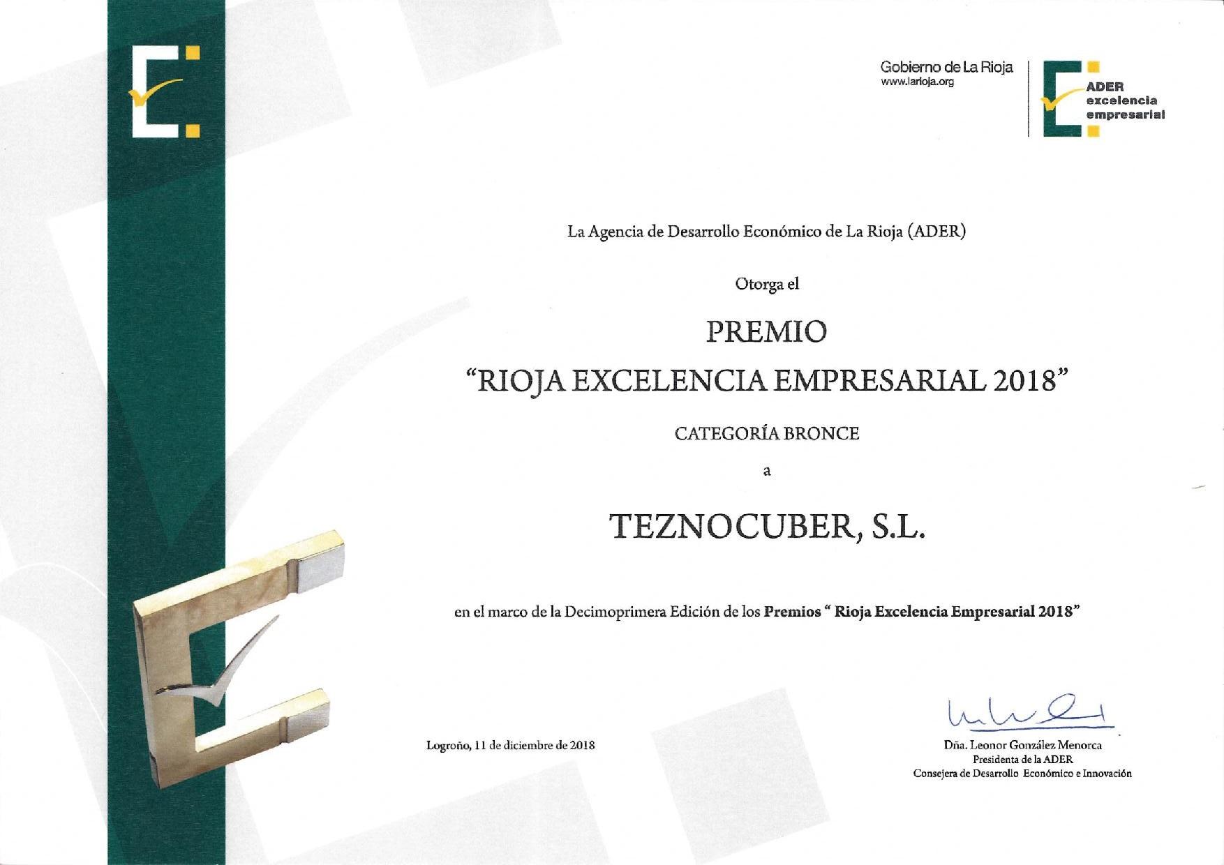 Teznocuber Composites S.L., galardonada en los Premios Rioja Excelencia y Certificado de Excelencia en la categoría bronce